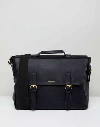 Asos DESIGN satchel in black faux leather with internal laptop pouch gold emboss and double straps