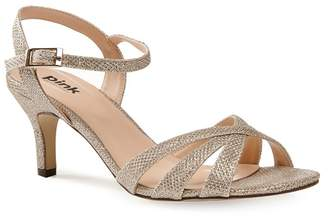 e95a40fb525 Pink by Paradox London - Glitter  Shelby  Mid Kitten Heel Ankle Strap  Sandals