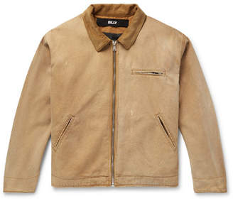 Billy Holly's Dad's Corduroy-Trimmed Distressed Cotton-Canvas Jacket