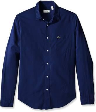 Lacoste Men's Long Sleeve Yarndyed Garment Wash Solid Reg Fit Woven Shirt, CH3936-51