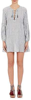 Ulla Johnson Women's Helena Striped Cotton Gauze Lace-Up Dress $300 thestylecure.com