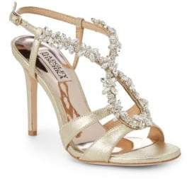 Badgley Mischka Heil Embellished Leather Sandals