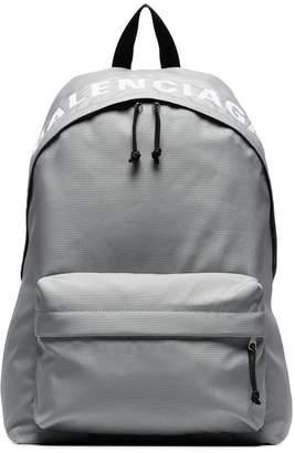 Balenciaga black and grey Wheel logo embroidered backpack