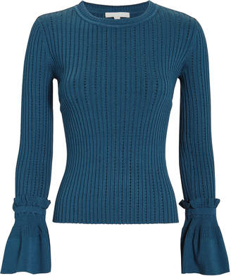 Jonathan Simkhai Blue Pointelle Bell-Sleeved Sweater