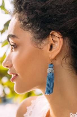 francesca's Grace Tassel Earrings - Blue