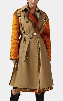 Versace Women's Mixed-Media Trench Coat - Brown