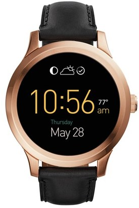 Fossil 'Fossil Q - Founder' Round Leather Strap Smart Watch, 47Mm $295 thestylecure.com