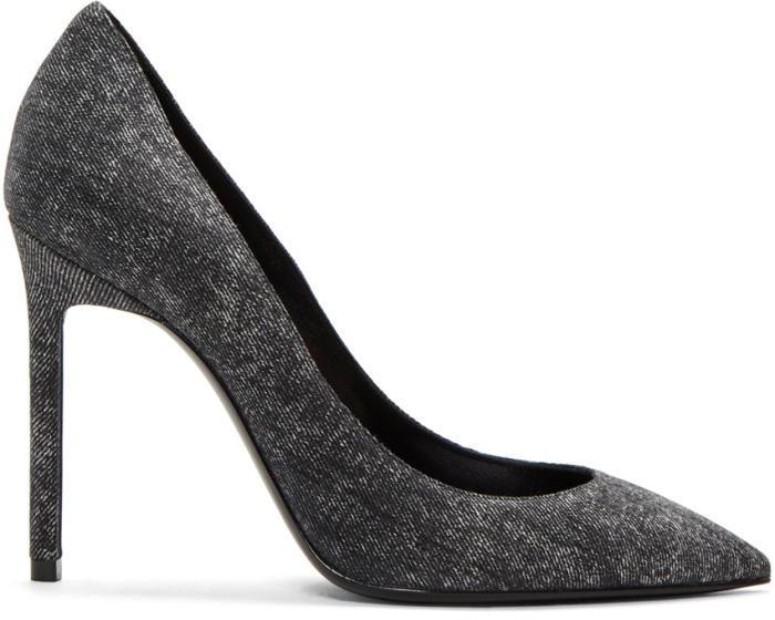 Saint Laurent Black Denim Anja Heels