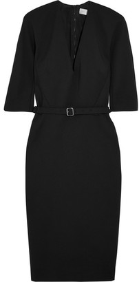 Victoria Beckham - Belted Stretch Cotton-blend Crepe Dress - Black