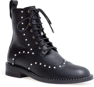 Jimmy Choo Hanah 10 black leather pearl boots