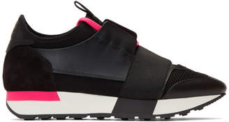 Balenciaga Black and Pink Race Runner Sneakers
