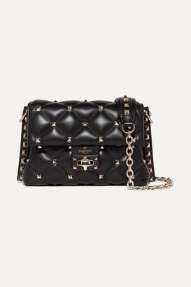 Valentino Garavani Candystud Medium Quilted Leather Shoulder Bag - Black