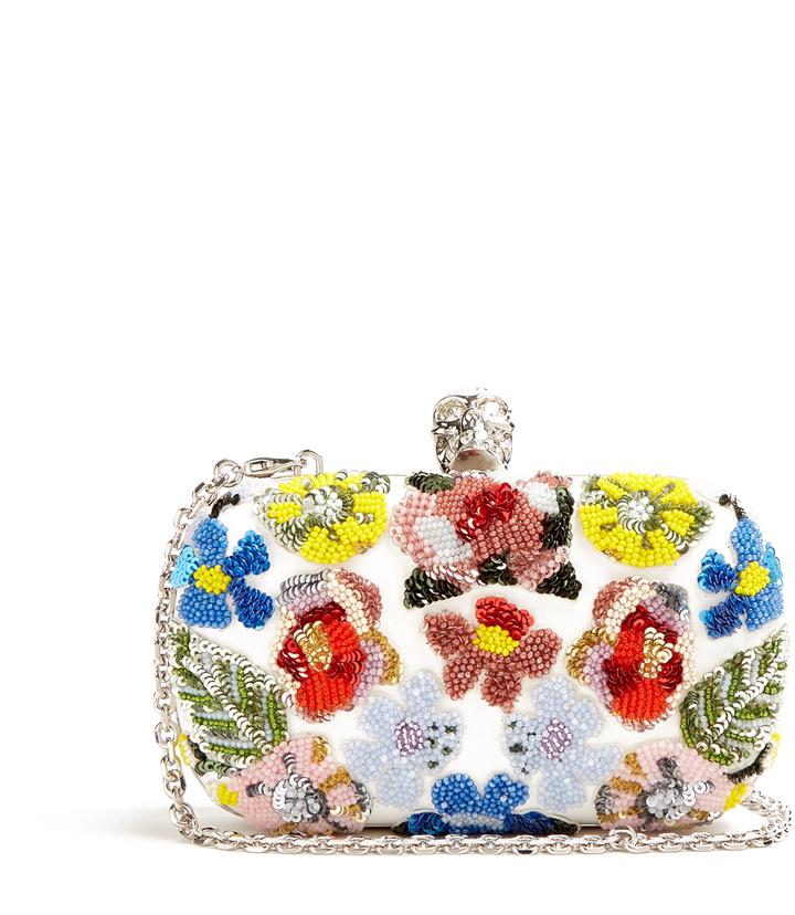 Alexander McQueenALEXANDER MCQUEEN Floral-embellished leather box clutch