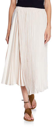 Vince Mixed-Pleat Asymmetric Maxi Skirt