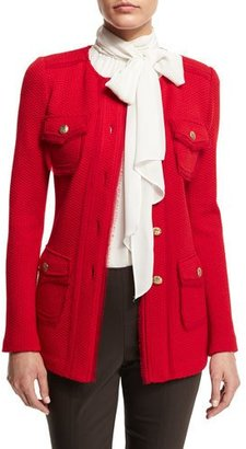 St. John Collection Textural-Twill Jewel-Neck Jacket, Paprika $1,795 thestylecure.com