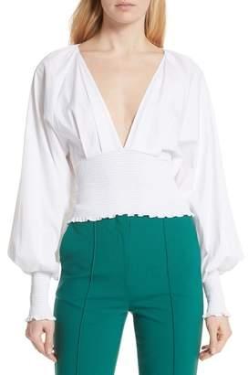 Diane von Furstenberg Smocked Cotton Deep V Top