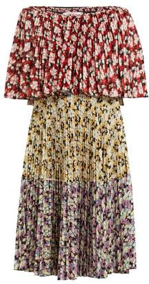 Valentino Spring Garden Print Pleated Dress - Womens - Multi