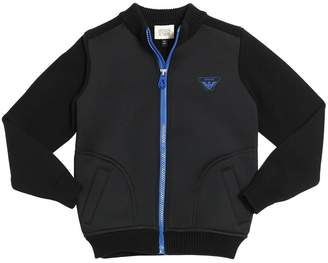 Armani Junior Cotton Knit & Neoprene Zip-Up Jacket