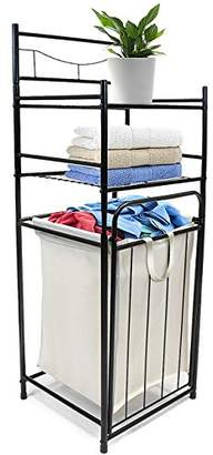 Laundry by Shelli Segal Sorbus Bathroom Tower Hamper - Features Tilt Laundry Hamper and 2-Tier Storage Shelves - Great for Bathroom