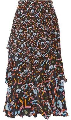 Peter Pilotto Tiered Printed Silk Midi Skirt