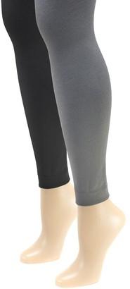 Muk Luks Women's Fleece-Lined Footless Tights 2 -Pair Pack