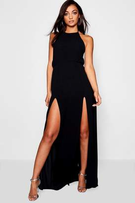 boohoo Tall Split Front Halter Neck Maxi Dress