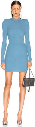 Balmain High Neck Button Dress in Bleu Jean | FWRD