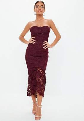 Missguided Burgundy Lace Bandeau Bust Cup Midi Dress