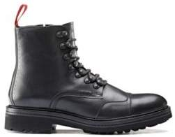 HUGO Lace-up boots in leather with lug sole