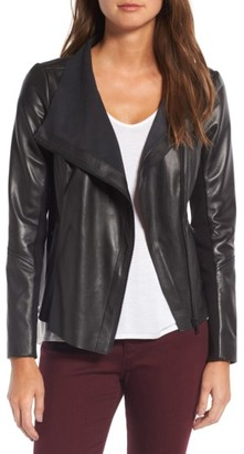 Women's Trouve Raw Edge Leather Jacket $299 thestylecure.com