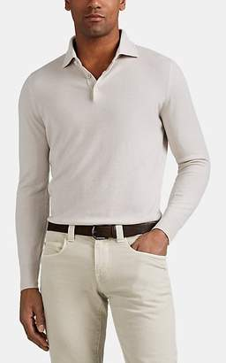 Loro Piana Men's Baby Cashmere Long-Sleeve Polo Shirt - Light Gray