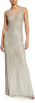 Jenny Packham Sleeveless Sequined Gown