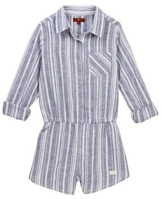 7 For All Mankind Long Sleeve Stripe Romper (Big Girls)