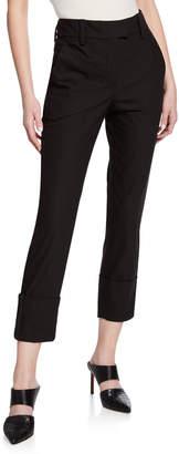 Brunello Cucinelli Mid-Rise Cotton Skinny Leg Monili-Cuff Pants
