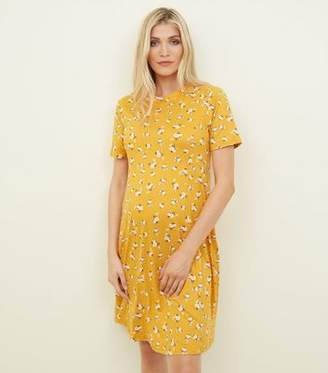 New Look Maternity Yellow Floral Soft Touch Skater Dress