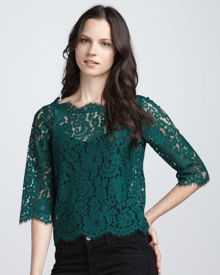 Joie Elvia Button-Back Lace Top