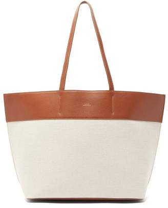 A.P.C. Totally Canvas And Leather Tote Bag - Womens - White Multi
