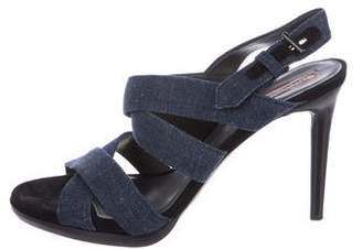 Reed Krakoff Denim Multistrap Sandals