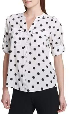 Calvin Klein Printed Roll-Sleeve Button-Down Shirt