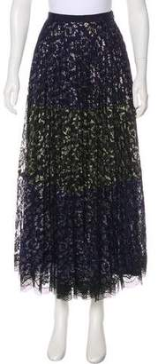 Saloni Metallic Lace Knee-Length Skirt