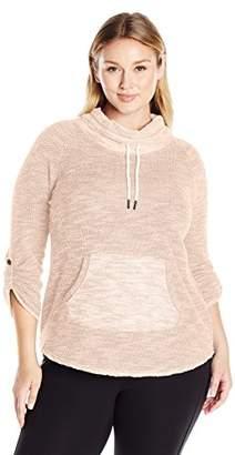 Calvin Klein Women's Plus Size Puffy Knit Funnel Neck Sweatshirt