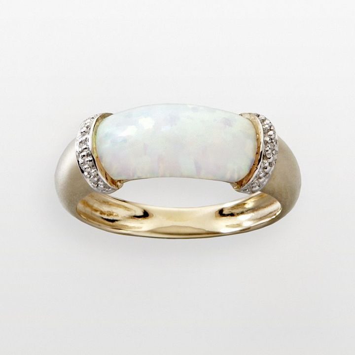 10k Gold Lab-Created Opal Ring