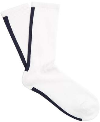 Raey Striped Sea Island Cotton Blend Socks - Mens - White Stripe
