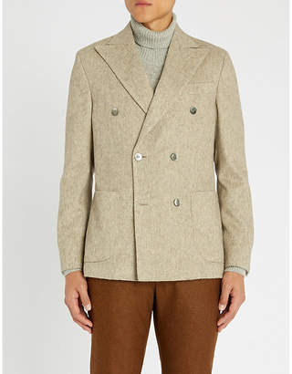OSCAR JACOBSON Patch pocket regular-fit wool jacket