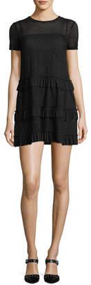 RED Valentino Short-Sleeve Mesh Tiered Ruffle Dress