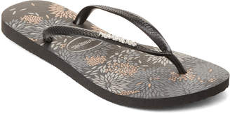 Havaianas Black Slim Logo Metallic Bloom Flip Flops