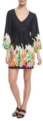 Trina Turk Bouquet Floral-Print V-Neck Coverup Tunic