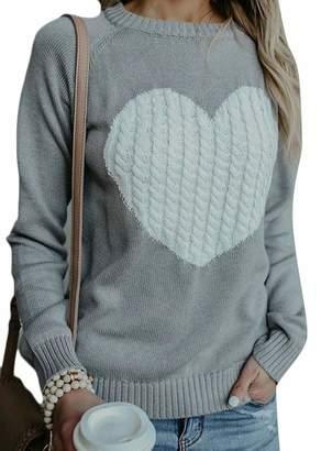 f915628ef5 Wenko Joe Womens Pullover Love Heart Pattern Knit Casual Autumn Winter Jumper  Sweater XL