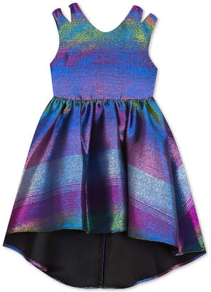 Rare Editions Little Girls Rainbow Metallic Jacquard Party Dress