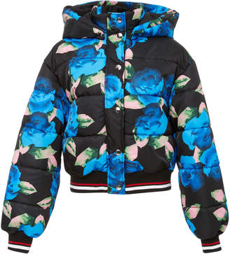 MSGM Floral-Print Quilted-Shell Hooded Jacket